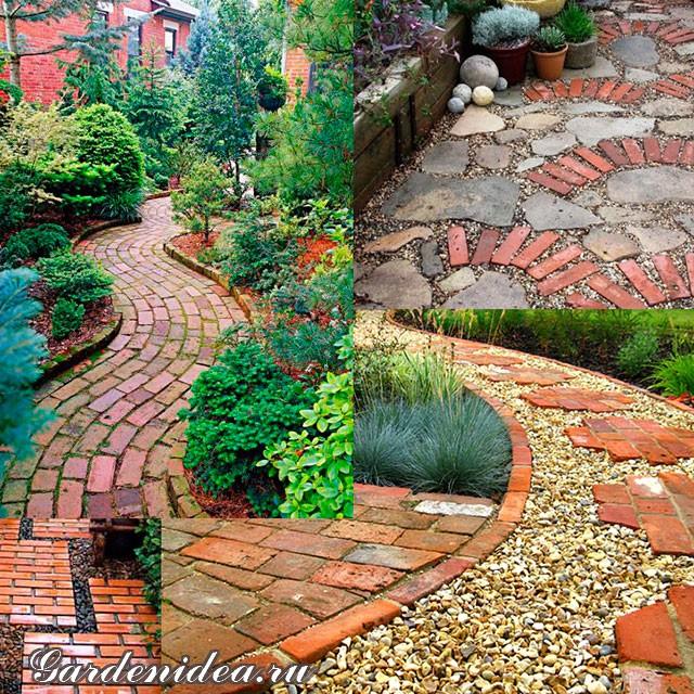 Примеры использования кирпича для устройства садовых дорожек