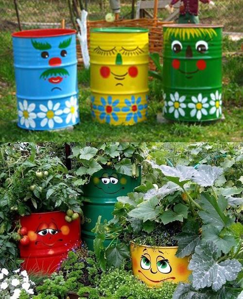 яркий идей декора бочек для огорода