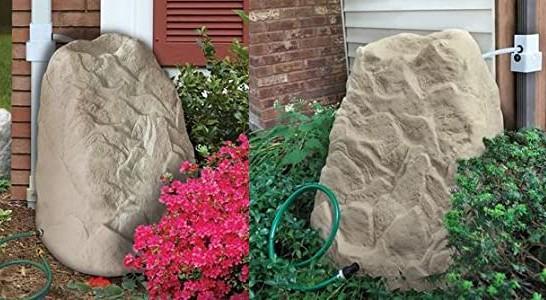 Декор бочки для воды в виде искусственного камня