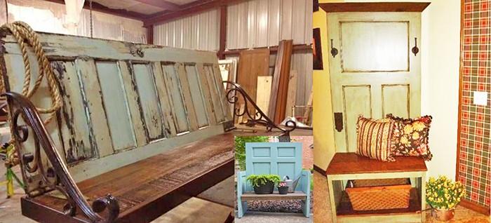 Скамейки из старых дверей