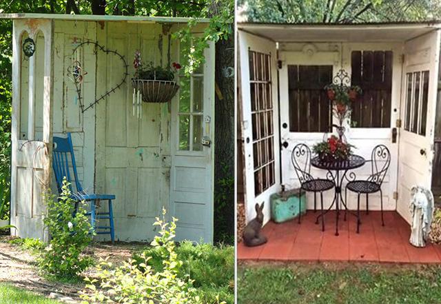 Навес и зона отдыха из старых садовых дверей