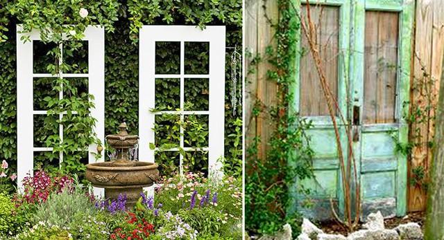 Опоры для цветов из старых дверей