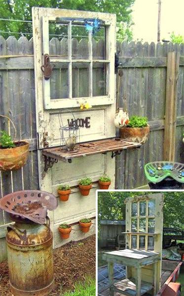 Садовый рабочий столик из старой двери