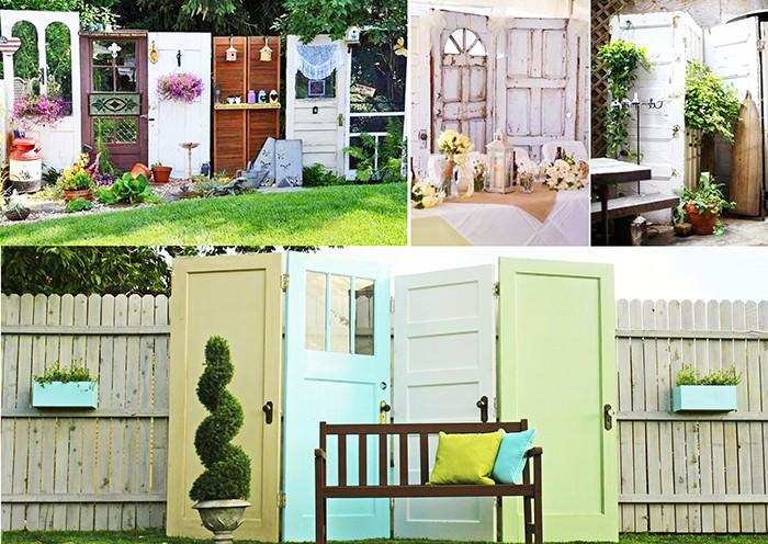 Забор или садовая ширма из старых дверей