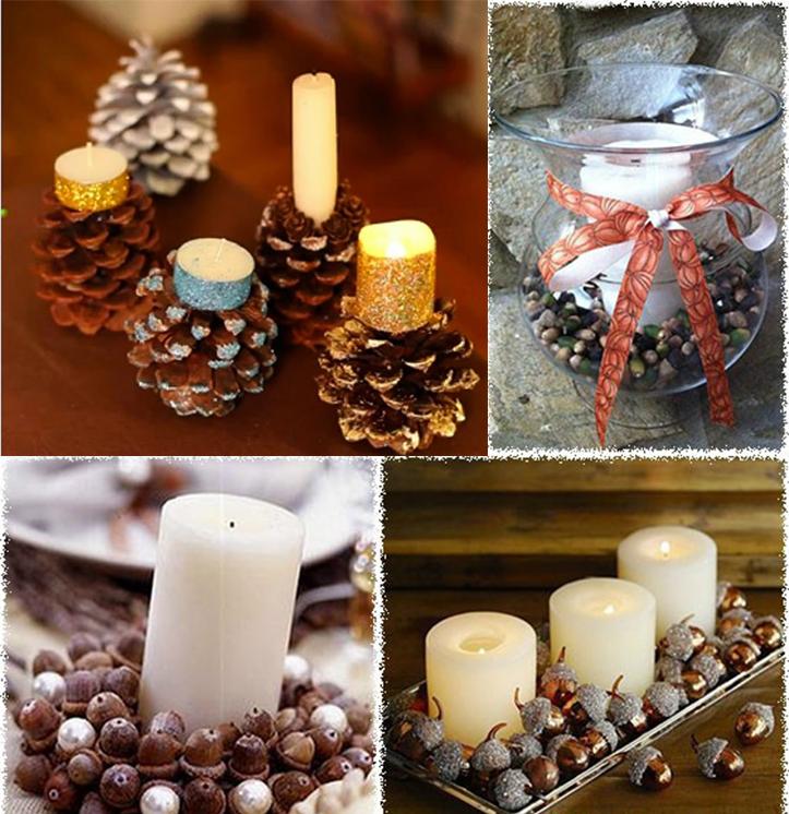 Декор из шишек и свечей
