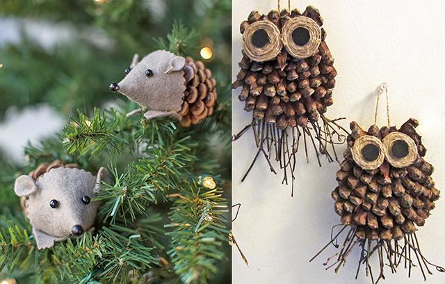 Мышки и совы из сосновых шишек