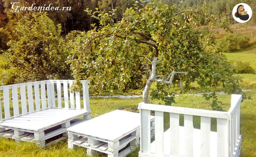 Зона отдыха во фруктовом саду